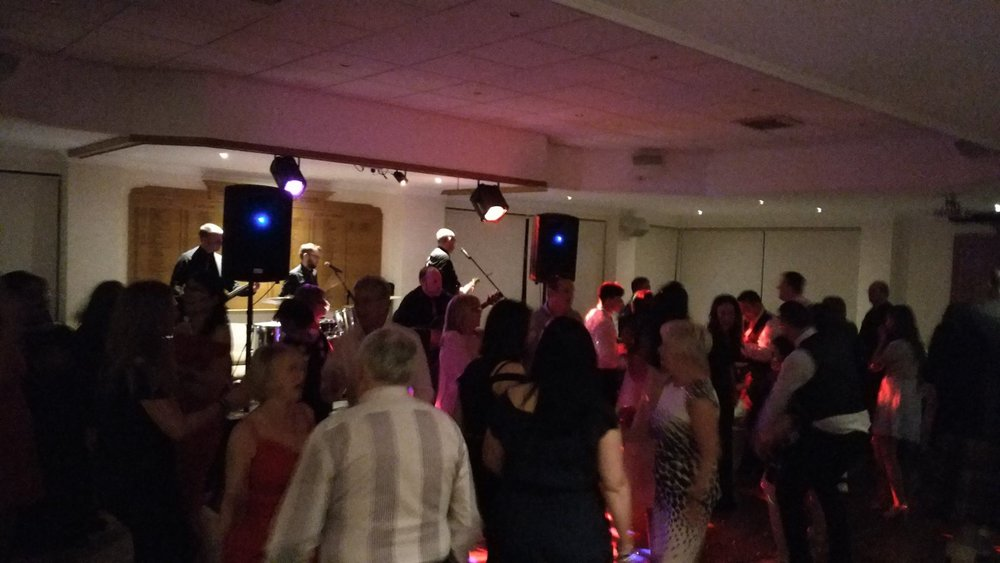 Busy dance floor at Thomas &Heather. Wedding held in  Clydebank & District Golf Club .