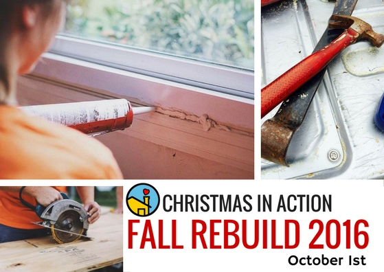 If you are interested in participating in this years Fall ReBuild on Saturday, October 1st please contact our office by emailing levans@ciaspartanburg.org or call our office at 864-576-7101. We are in search for new groups to lead a ReBuild of a house or houses and would love to see the groups are that regular volunteers with Christmas in Action again! This year we are working to repair homes in  INMAN.  We can't wait to hear from you and your group!