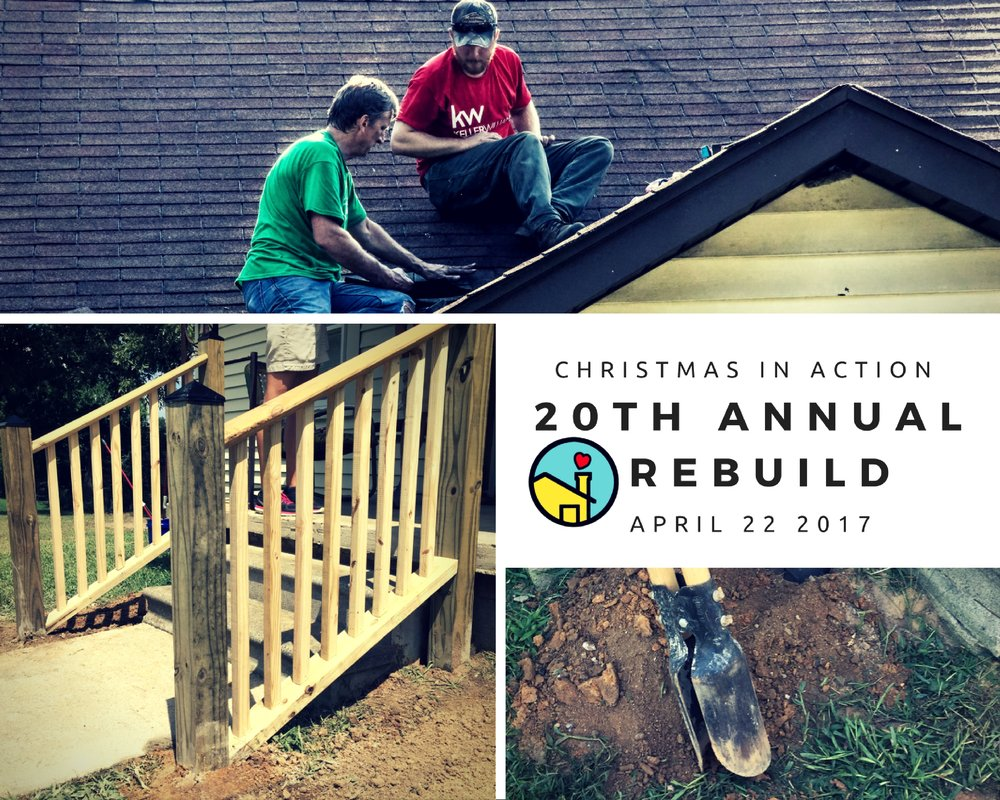 We're celebrating 20 years of service to the Spartanburg community! Join us for our 20th Annual Christmas In Action ReBuild Day planned for Saturday, April 22, 2017! This day bring out hundreds of volunteers to help our fellow neighbor as we work on homes in the City of Spartanburg. Past repairs have included but are not limited to: wheelchair ramps, toilets, floors, roofs, porches, scraping and painting, and general clean up. Make a difference today by organizing a volunteer team for our ReBuild and make an IMPACT on your fellow neighbors. For more information, please contact our office at 864-576-7101 or email Amanda Mathis at amathis@ciaspartanburg.org. Deadline for TEAM sign-up is March 7, 2017.