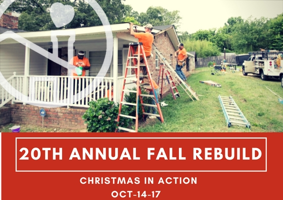 Join us for our 20th Annual Fall ReBuild on October 14, 2017. We will be repairing homes in the the areas of Fairforest, Arcadia, Whitney Heights and Southern Shops among others. Repairs range from painting to roof repairs. Sign up today by clicking the sign up link on the home page of our website or call our office at 864-576-7101. We encourage volunteers to sign up as a team with a skilled member who can lead and plan the project but also welcome individual volunteers and teams that do not wish to lead.   Our sign up form will help us match you with a project based on your skills. Feel free to list any project preferences in the comment box. As Christmas In Action celebrates 20 years of home repair projects, we hope you will be a part of creating more secure housing for our neighbors in need.
