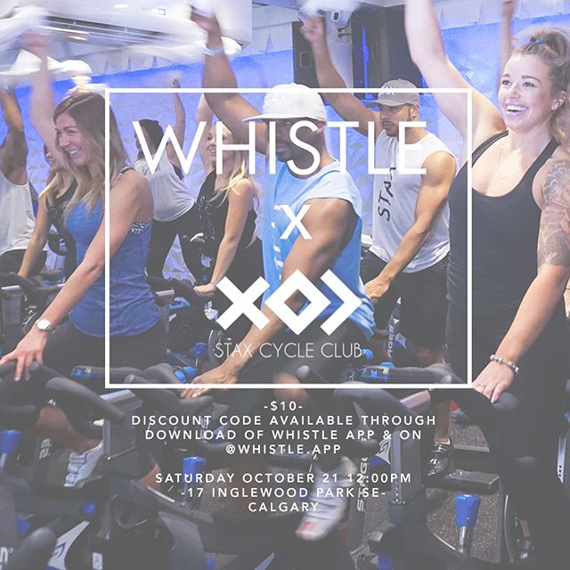 """We are officially two days out from our first fall Calgary WHISTLE WORKOUT!! // Tickets available through the link in bio! USE CODE """"WHISTLEWORKOUT"""" for half off!!! //✖️✖️✖️// #whistleapp #calgary #fitness #workout #spinclass #staxcycleclub"""