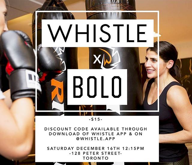 @whistle.app is excited to announce a new event with @boloinc !!! Join us Saturday for a killer boxing class followed by swag  bag takeaways for every participant 🙌🏼. Registration link & discount code in bio. *** space is limited *** // #whistleapp #torontofitness #events #boxing #bolo #knixwear #fitness