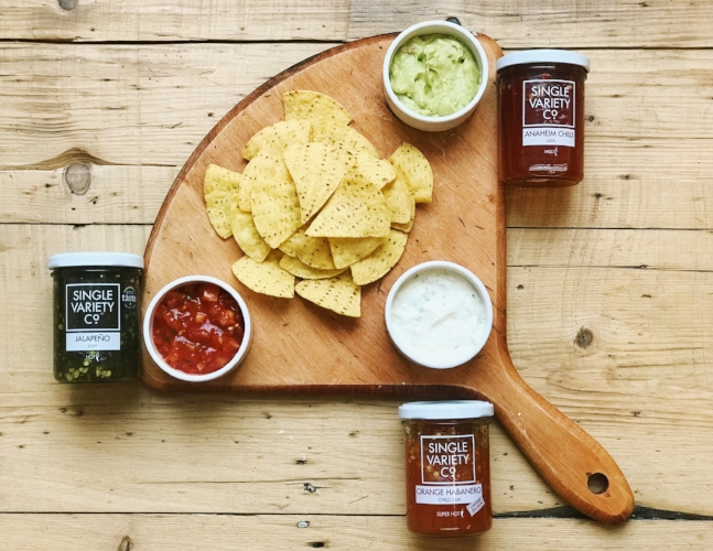crisps and chilli jam dip