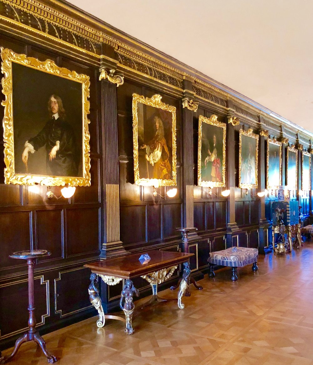 The Long Gallery at Ham House was remodelled in 1639 for William Murray, with wooden panelling which derives its style from Inigo Jones' interpratation of the Classical order.
