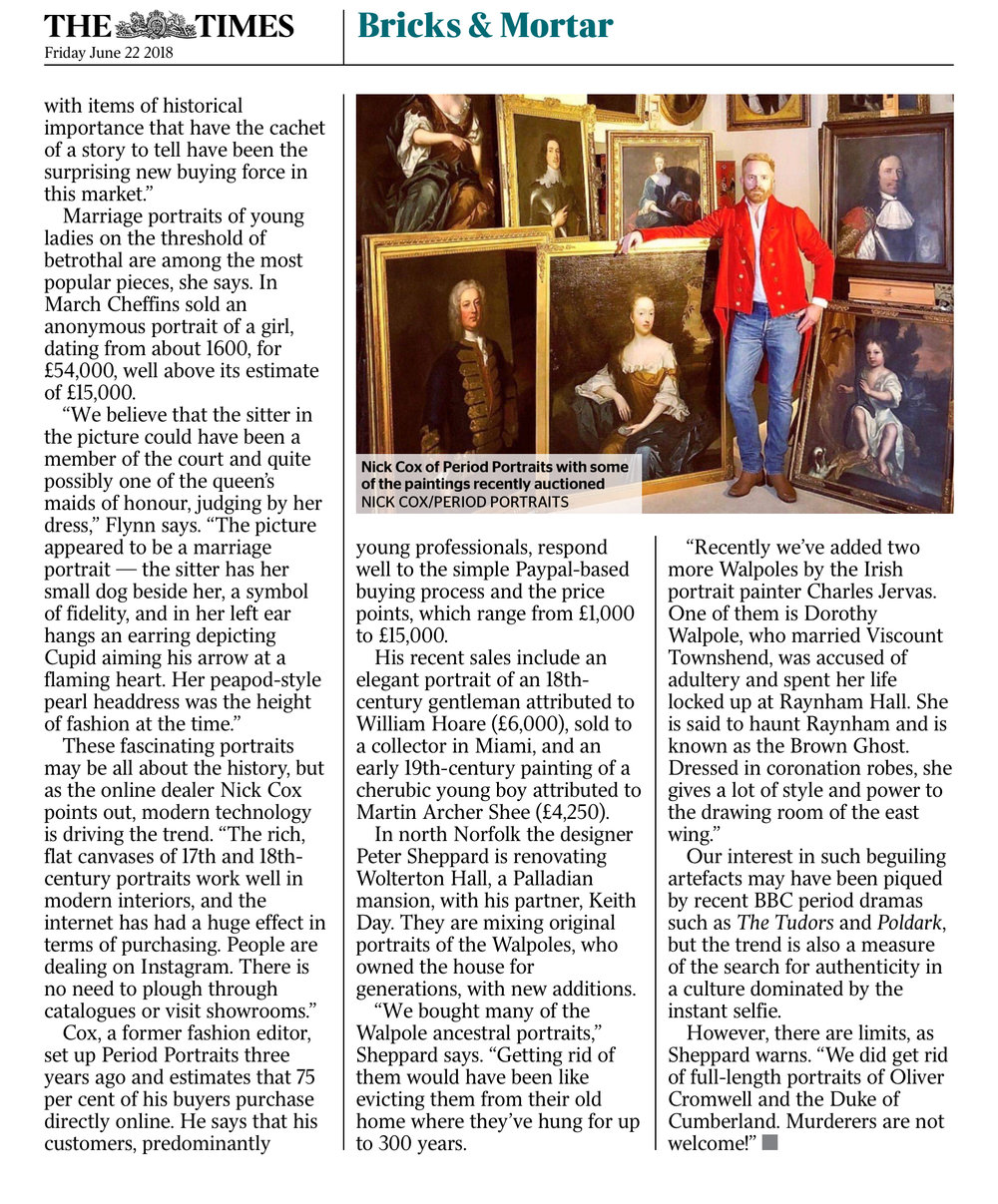 'The Instant Ancestors Adorning Your Walls'  The Times June 2018 - Jane Dowle