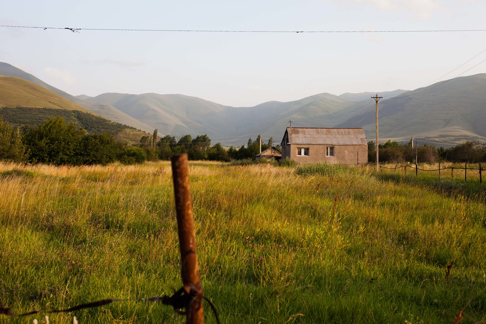 The majority of the land in and around Spitak is undeveloped and is often times used by grazing cows.