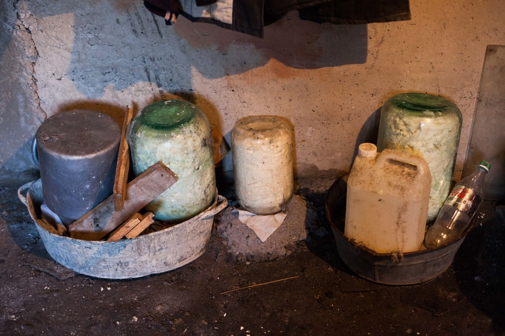 Homemade cheese ferments in a basement. In the small communities, much of the food is produced locally.
