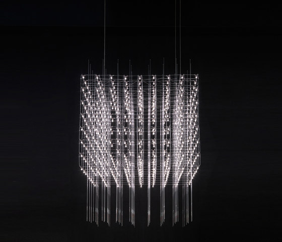 Quasar Universe Square pendant light with glass rods added
