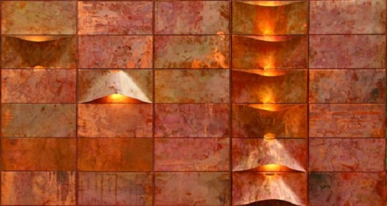 Lum copper wall lighting installation from Quasar