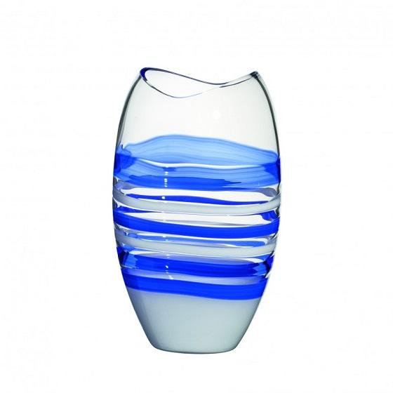 Carlo Moretti Murano glass vase Ellisse blue
