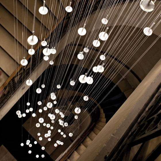 Blackbody i.rain OLED installation down a stairwell from above