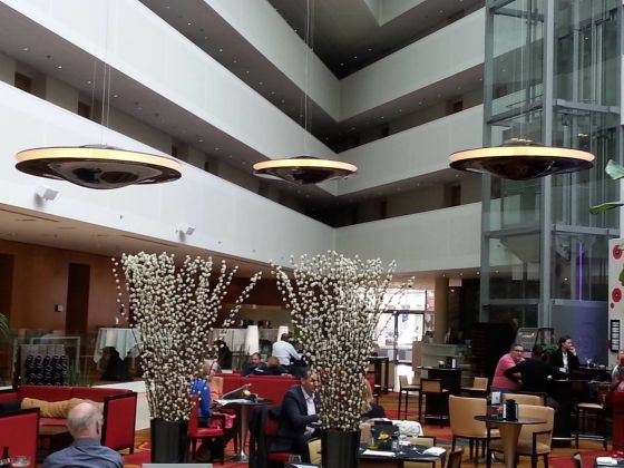 Design by Mai Skybeamer 200 pendant lights at the Marriott Ghent.