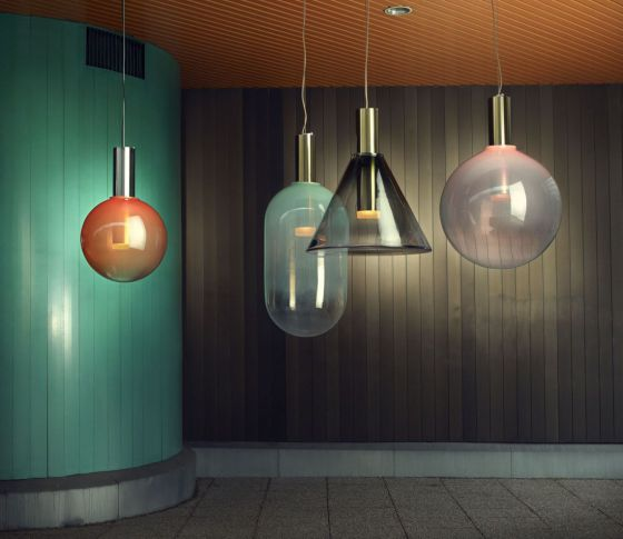 Phenomena glass pendant lights by Dechem for Bomma