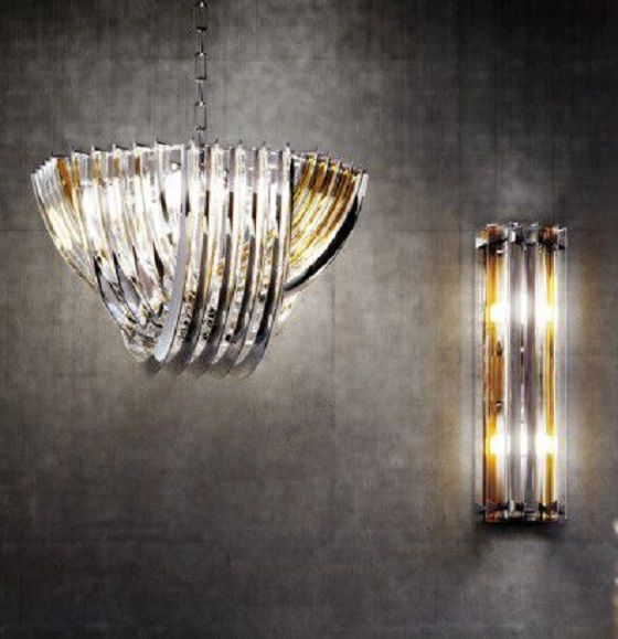 Carlo Nason curved triedri chandelier from Venini