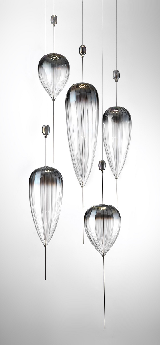 "Vetrart Lagoon pendant lights with ""mother of pearl"" graded finish"