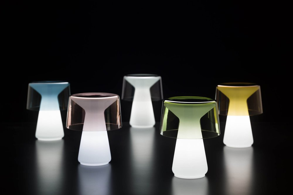 Cameron Peters Nelly Murano glass table light turned on at night.jpg
