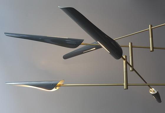 David Weeks 428-Sarus-4Tier-Grey-Gloss-w-Brass chandelier