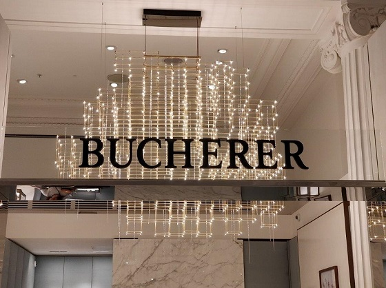 Quasar custom Cosmos chandelier in Bucherer Selfridges