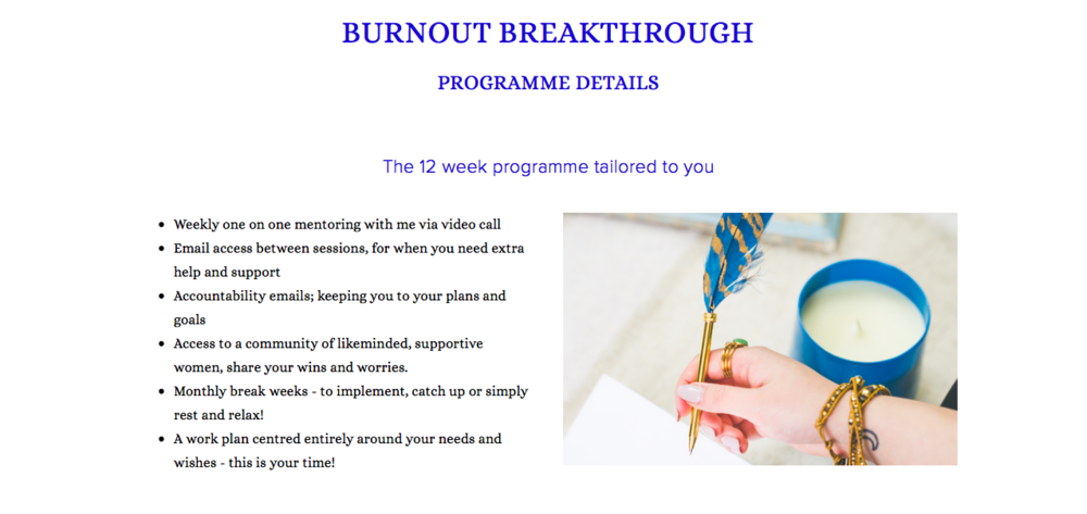 Are you ready to beat your burnout for good?  Join me in a 12 week programme designed to boost your energy, develop support systems to manage stress long term and kickstart your enthusiasm for your career.