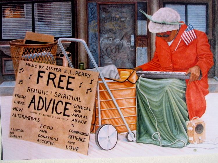 Free Advice  1988  42x30  watercolor