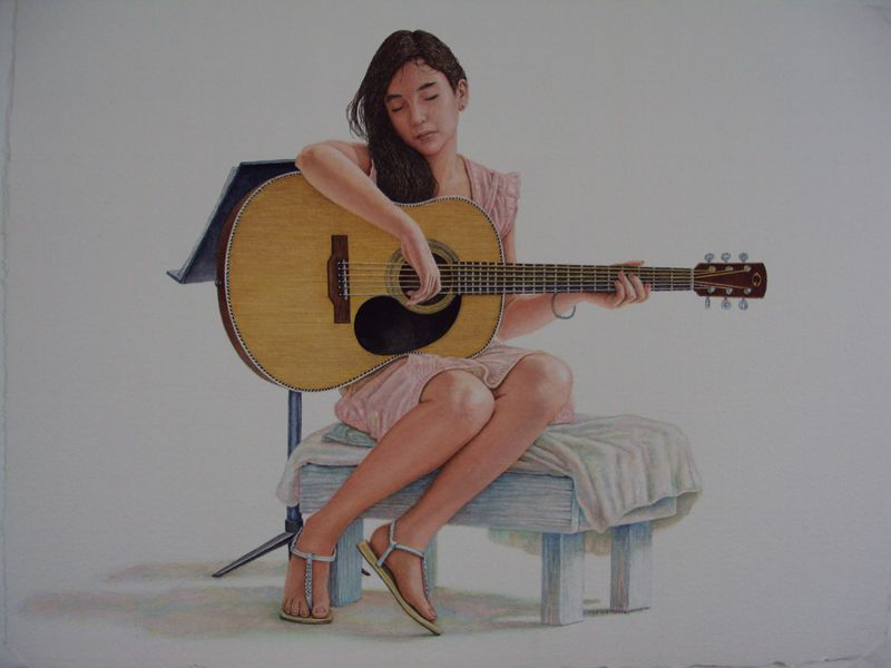 Girl with Guitar  2009  30x22  watercolor