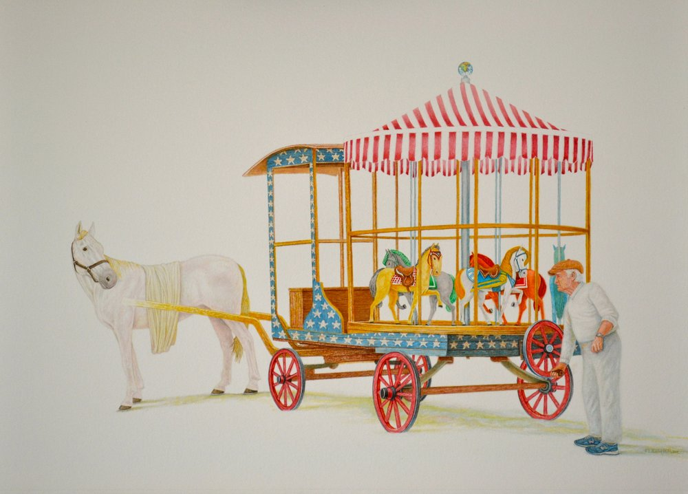 Carousel   2017  30x22  watercolor