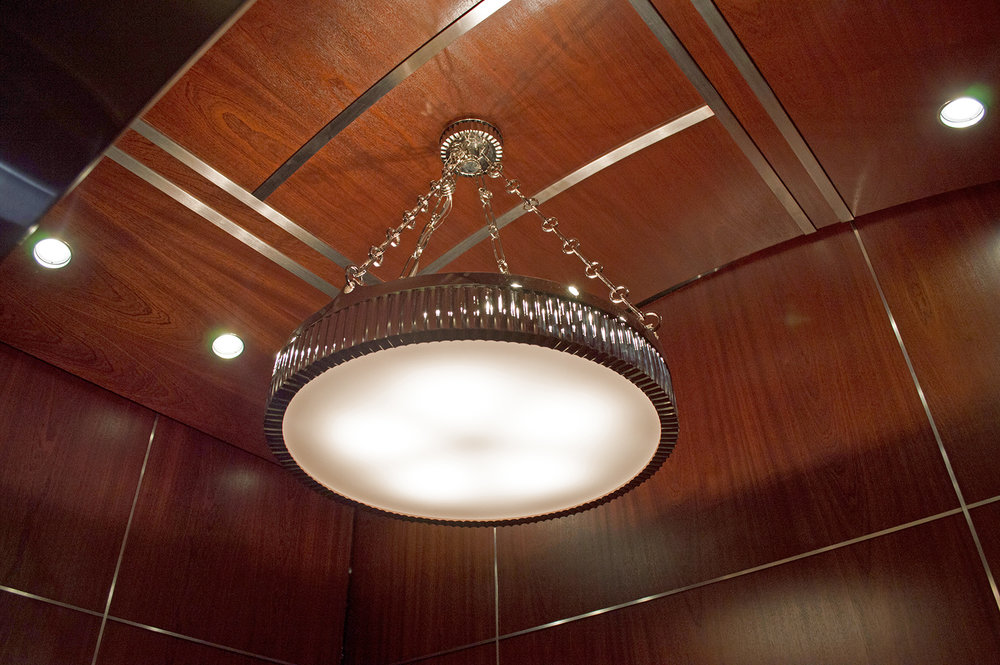 Top Ceiling: Refinished existing wood and installed Stainless Steel #4 inlays.