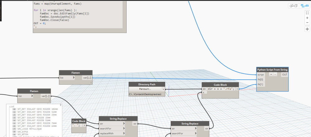 """Un dossier """"\extract"""" a été crée pour l'exercice.  le CodeBLock est seulement là pour combiner le chemin, les noms et l'ajout du suffixe .RFA à chaque famille."""