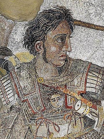 - The Alexander Mosaic, dating from circa 100 BC, is a Roman floor mosaic originally from the House of the Faun in Pompeii.[1] It depicts a battle between the armies of Alexander the Great and Darius III of Persia and measures 2.72 by 5.13 metres (8 ft 11 in × 16 ft 10 in).[2] The original is preserved in the Naples National Archaeological Museum. The mosaic is believed to be a copy of an early 3rd-century BC Hellenistic painting.[3]