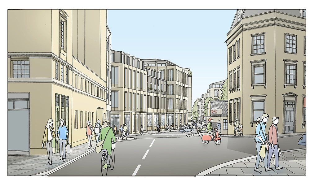 Bath Quays North - Illustrative view from Corn Street / St James Parade