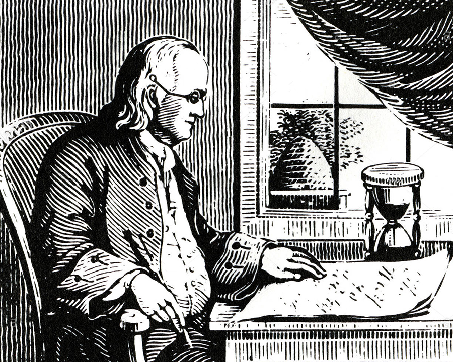 Ben Franklin - Created his own alphabet because of his notoriously bad spelling habits.