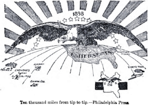 An 1898 cartoon depicting America's ascent as a global power.