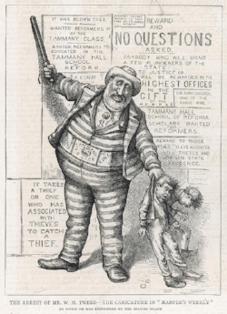 Thomas Nast's 1876 cartoon of Tammany Hall's Boss Tweed led to Tweed's arrest when fleeing to Spain.