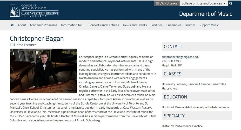 Screen Capture of the CWRU Music Faculty Page