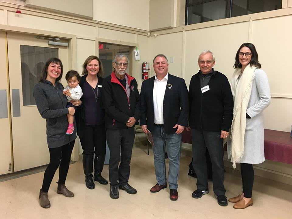 Left to right: Monica Shore, CBRA Coordinator - Dr. Pam Shaw, Mount Arrowsmith Biosphere Region Research Institute - Chief Michael Recalma, Kwalicum First Nation - Gord Johns, MP, Courtenay-Alberni - Dr. Dave Witty, Mount Arrowsmith Biosphere Region, Ashley Van Acken, Mount Arrowsmith Biosphere Region