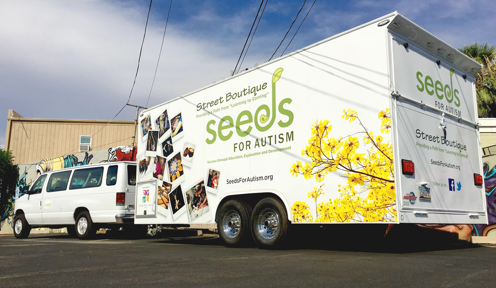 We are so grateful to our Board of Directors and East Valley Women's League for making our dream of a mobile boutique become a reality. If you are interested in having the SEEDs for Autism Street Boutique featured at your business or event,  please contact us at 602-253-4471.
