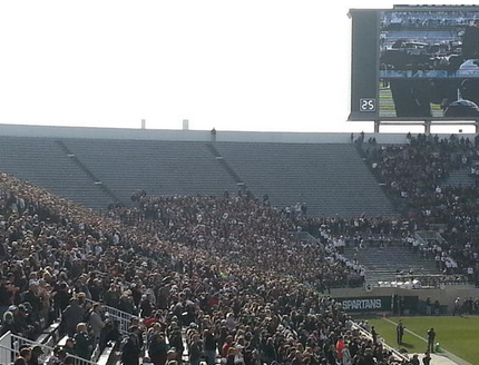 MSU students turned out in force for the the pivotal matchup.