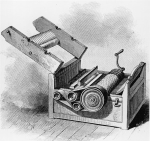 The cotton gin, a revolutionary machine that separated the seeds of the cotton plant from the cotton itself and was one of the most significant inventions of the American industrial revolution, was invented in 1794 by Eli Whitney.  Any 90s kid who was anyone had one of these.