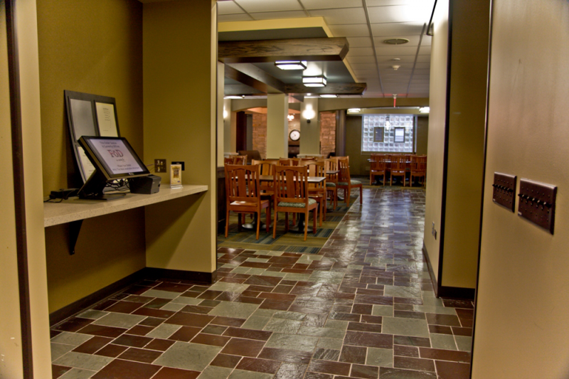 Willard's dining hall, in all its neutral-color-tiled glory.