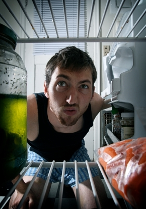 Lawson, gazing into the green horror that is his fridge. (via greenlifestylemag.com)
