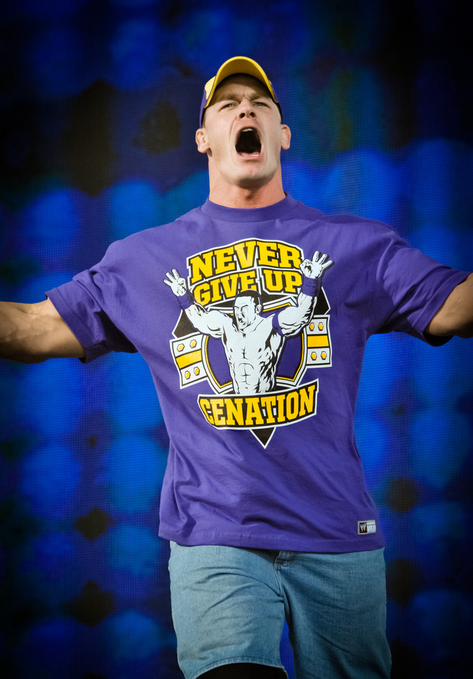 John Cena yelling and wearing jorts