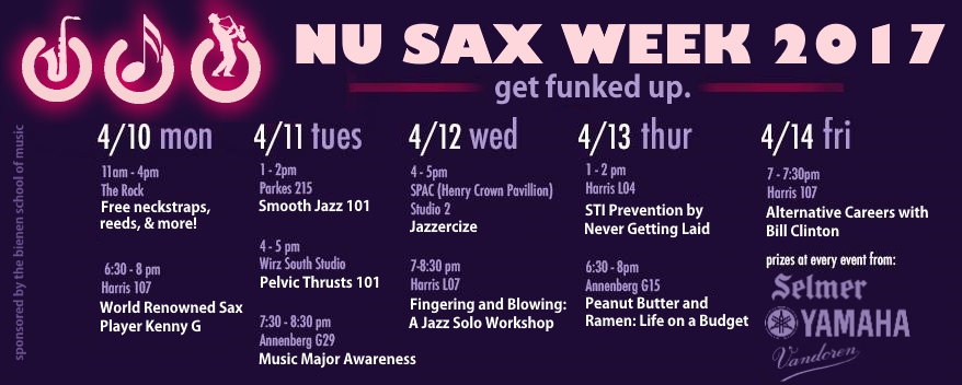 NU Sax Week 2017's Schedule