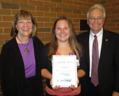 Marti Kuimjian, Bellin College recipient with Renee and Doug LaViolette
