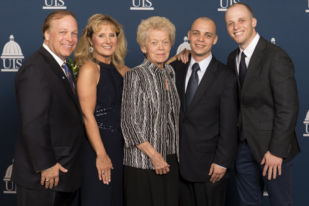 Darrel is pictured here with his wife, Kelly; mother Dorothy' and sons Michael and Jeffrey