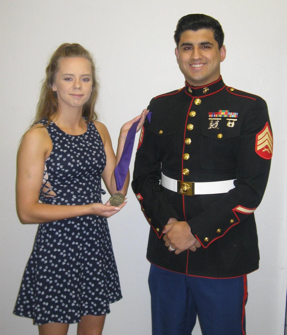 2018- menasha-  Nicole Hanshaw with Sgt Diaz of the Marine Corps.JPG