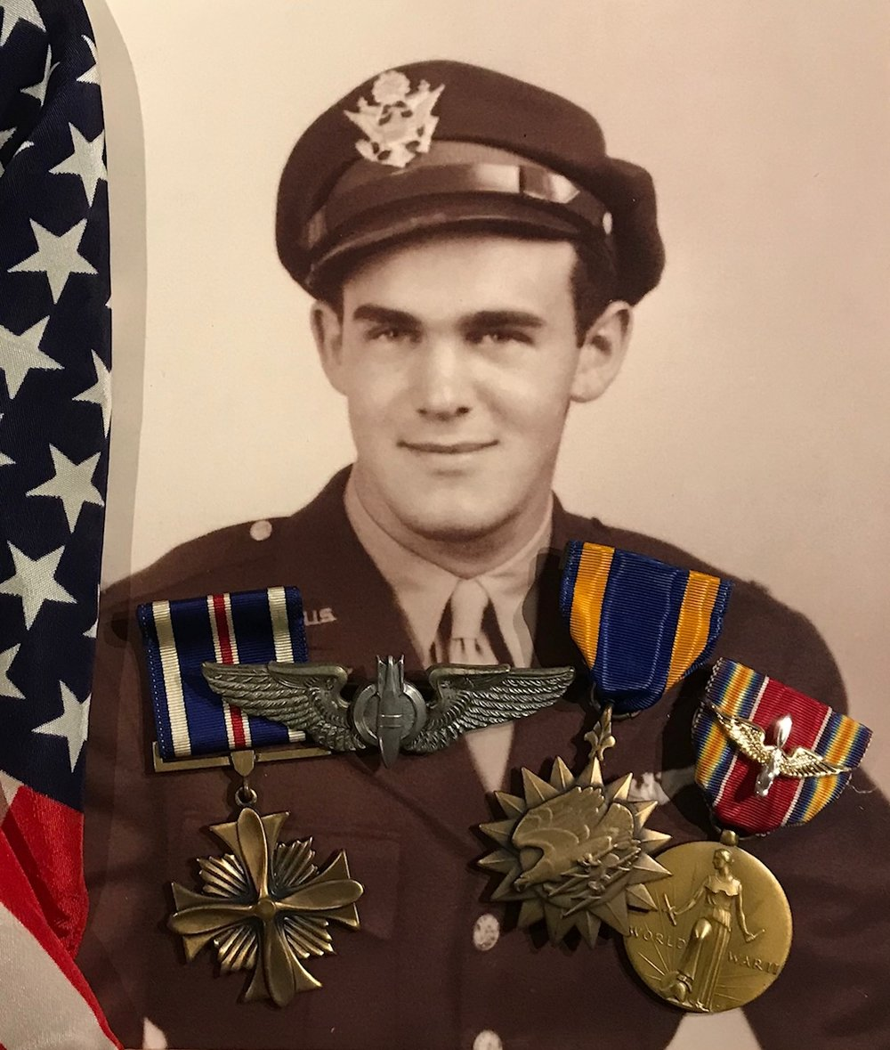 1st Lieutenant, Carl Kratzer recipient of two distinguished Flying Crosses, an Air Medal along with the WWII Victory Medal