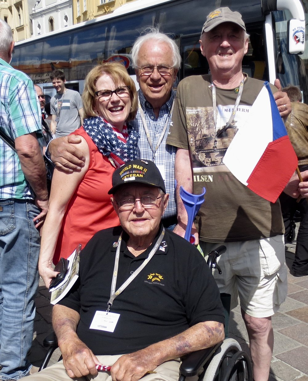 Reuben with Lee and Kathy Anderson and Stanley Bartl during the Pilsen Liberation Festival