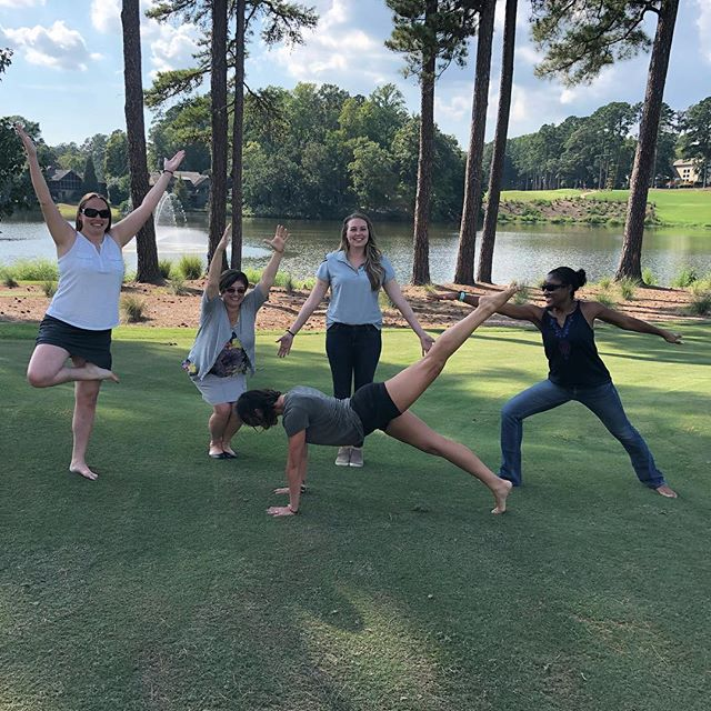 Our committee getting everything ready for you all @macgregordownscountryclub Finished our on site meeting with #golfcourseyoga to send off our co-chairs! #itsforthekids #newlocation #newswag #macgregordowns @macgregordowns