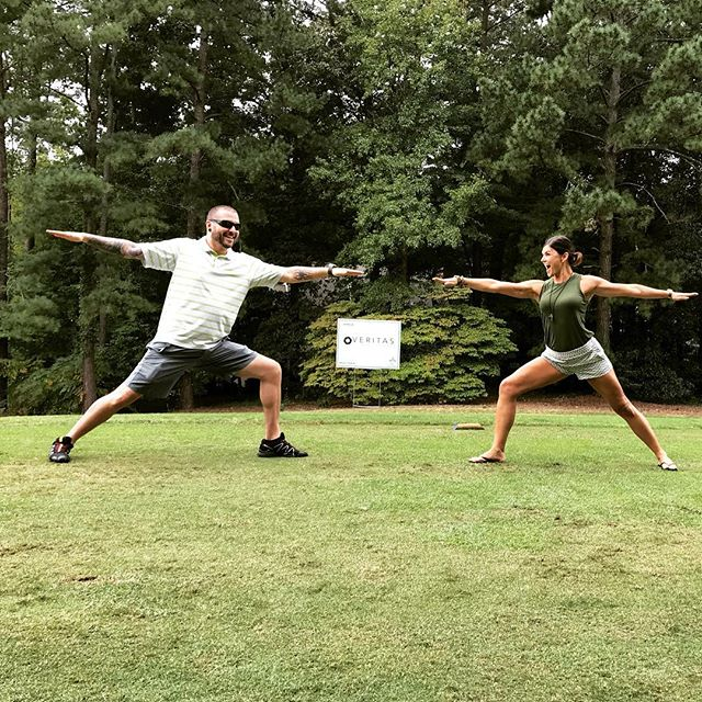Check these two doing #golfcourseyoga! #itsforthekids #acerdugolf @acementor @acerdugolf @macgregordownscountryclub @wintermarie_ @veritas_digital_photography