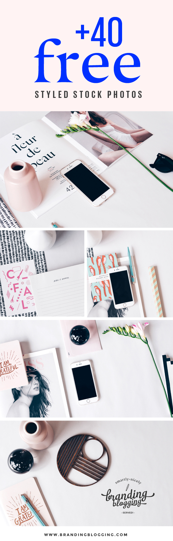 Looking for beautiful pictures to add to your content? 40 FREE styled stock photo designed especially for bloggers and creative entrepreneurs. Download the free pack!